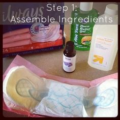 A few days ago I was surfing around on the internet for things I might need for delivery and after delivery. I'm in the process of trying to pack my hospital bag and to get myself prepared for coming home with my little babe. I stumbled upon this homemade recipe for create postpartum relief pads.