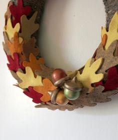 Autumn Wreath, Oak Leaves and Acorns Wreath, Fall Wreath, 10 inch Size. $36.00, via Etsy.