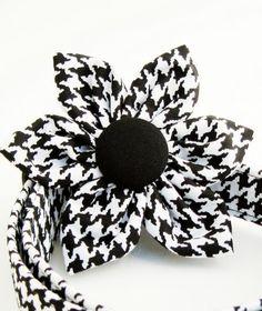 Houndstooth Flower Dog Collar