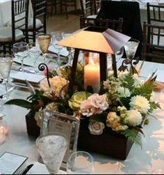 raised lantern centerpiece w/flowers