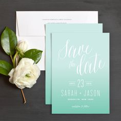 Vibrant Ombre Save The Date Cards by Kristie Kern | Elli