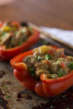 Slow cooker Mango Chicken Stuffed Peppers