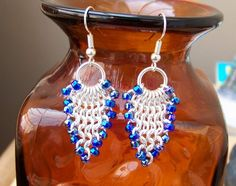 Chainmaille earrings Silver plated with beads by victoriaeagle