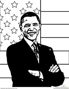Worksheets: President Obama Coloring Page