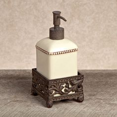 Complete your French Country or Old World decorating theme with this wonderfully unique bathroom soap or lotion pump from the GG Collection.  Ceramic pieces are dishwasher safe.brbrliDimensions:...