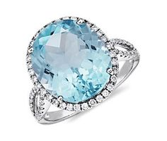 Blue Topaz and Diamond Cocktail Ring in 14k White Gold  #BlueNile #Mothersday