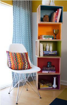 Upcycled recycled wine crates bookshelves Upcyling and Recycling Ideas For Home Decor