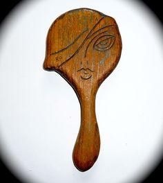 Folk Art Wood Hand Mirror Flapper Face & Cloche
