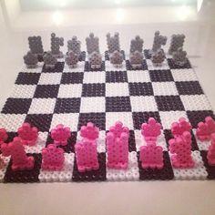 3D Chess board perler beads by goselinda