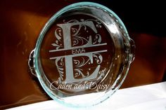 Personalized Fluted pie plate with handles  - etched glass