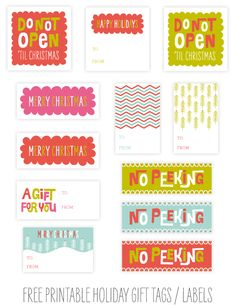 Free Printable Holiday Gift Tags - bjl