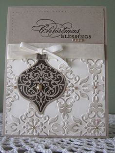 Stampin' Up Handmade Greeting Card: Embossed Christmas Blessings on Etsy, $4.00