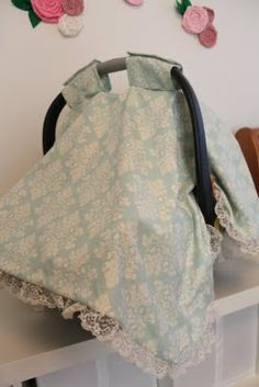 do it yourself divas: Baby Car Seat Cover (Oh I love this fabric with the lace!!)