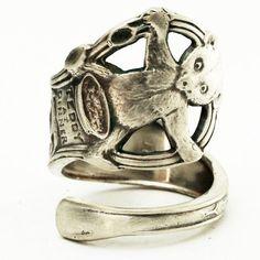 Teddy Bear Spoon ring, Sterling Silver by Spoonier