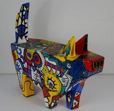 Picasso's Dog. Brightly coloured paper mache sculpture
