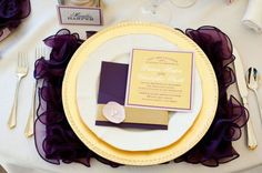Purple and Gold Place Setting – shared on Polka Dots & Daisies