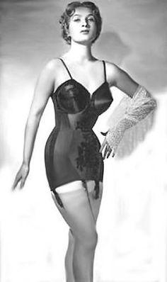 Vintage ad for open bottom girdle and BULLET BRA detail garters stockings