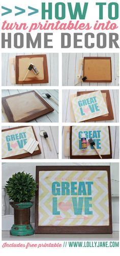 Love this easy DIY! Turn printables into home decor... includes FREE printable! via @Lolly Jane {lollyjane.com}