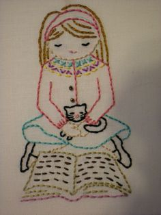 Girl & kitty reading embroidery by knittingbeauty  Design by Wee Wonderfuls