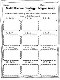 Multiplication: Using Arrays Worksheets