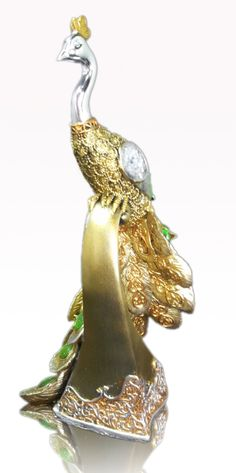 Golden Luxury Green Bejeweled Peacock Figurine base is Resin, measures 27x10 cm, photo 3/5