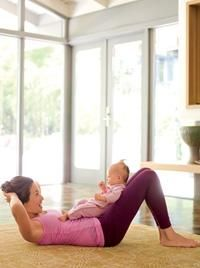 Post pregnancy workout. Sit-ups with baby to trim the belly! As you might already know, it is good to keep the baby close. So, there is no need to put the baby away when you need to do your work out :)