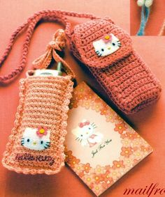 Hello Kitty Crochet cell phone covers. Pinspiration only. Looks like a relatively simple pattern though. ¯\_(ツ)_/¯
