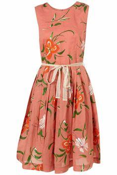 peach floral print dress <3