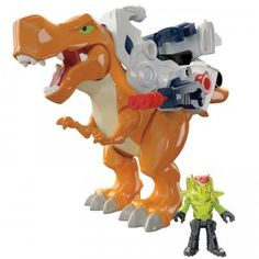 The Imaginext Deluxe T-Rex is a chomping toy dinosaur that comes with armor with a projectile launcher, a figure with armor, and sound effects.