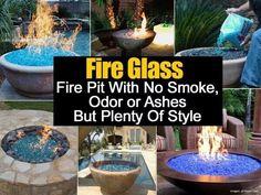 Blue glass fire pit
