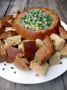 Bacon Spinach Beer Cheese Dip in a Beer Bread Bowl ~ Sumptuous Spoonfuls #dip #recipe