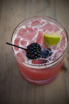 """""""The Bramble"""" - a blackberry cocktail. Gin, lemon juice, a splash of sugar syrup & Creme de Mure (blackberry liqueur)."""