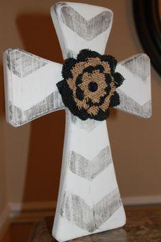 Wooden cross with burlap flower