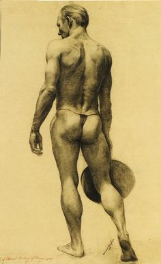 'Male Nude Holding a Hat' by Edward Orestuk, 1939. Graphite on paper.