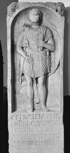 Stele of P. Flavoleius Cordus, miles of Legio XIIII Gemina (CIL 13.7255), Germany. First half 1st century AD. Landesmuseum Mainz.