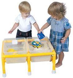 Mini discovery and sensory play table with double tubs for twice the fun!