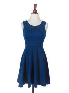 Heart Skips a Pleat Dress in Blue by Ya