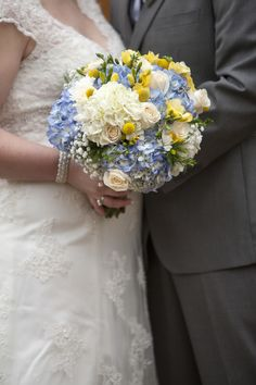 Blue & Yellow Country Chic Wedding Bouquet|Photo by: melissarenaphotography.com