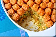 Tator Tot Casserole (vegan, curry, and sweet potatoes)
