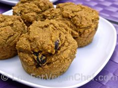 Fat Free Vegan Pumpkin Raisin Muffins Sweetened With Maple Syrup — Low Fat Vegan Chef Recipes