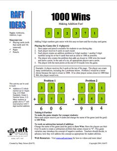 Here's a game for practicing addition of three-digit numbers. Can be adapted to practice subtraction as well.