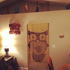 Our hand painted, bamboo, owl beaded curtain looks perfect in @Angela Gray Baker's home!