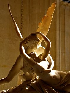 A sculpture by Antonio Canova depicting Eros reviving Psyche, who was put to sleep forever by inhaling a magic perfume. 1793. Louvre, Paris. I remember my art history professor saying this sculpture is more powerful because their lips are not touching, thus creating tension