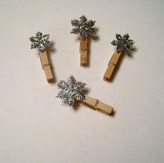 Snowflake Clips. Hang on ribbon for instant card or photo holder!