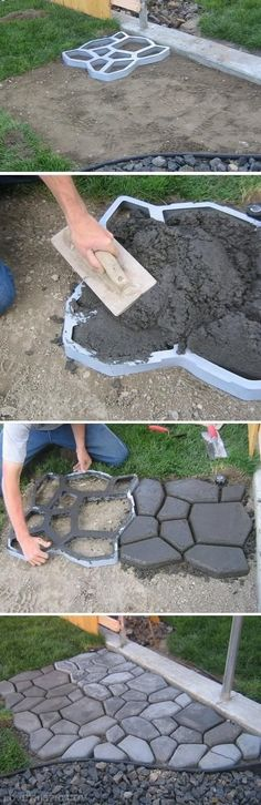 DIY cobblestone path. What about this for the back in the area for the grill?