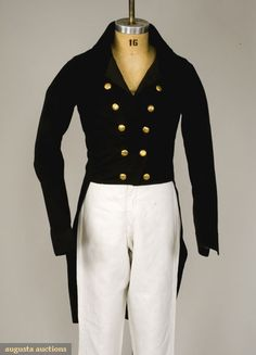 NAVY BLUE WOOL TAIL COAT, ENGLAND, 1820s