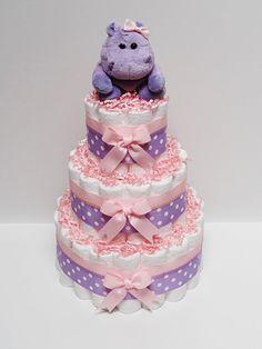 Pink Purple Hippo Diaper Cake Baby Shower Centerpiece