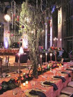 wedding themes, wedding receptions, midsumm night, tree, color, night dream, magical forest, summer nights, dream wedding