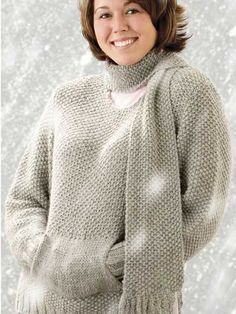 Knit a classic sweater with a front pocket and a matching scarf with this free knitting pattern. This knitwear set is stitched with chunky weight alpaca yarn and sizes 9 and 10 1/2 needles. Fits Woman's size small to 5X-large.Skill Level: Intermediate