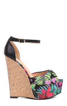 Deb Shops floral print cork wedge $27.67